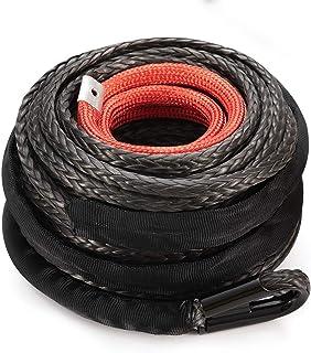 """Cuerda de cabrestante sintética 3/8"""" x 85' – 25000 libras cabrestante cuerda con funda protectora para 4WD todoterreno, ve..."""