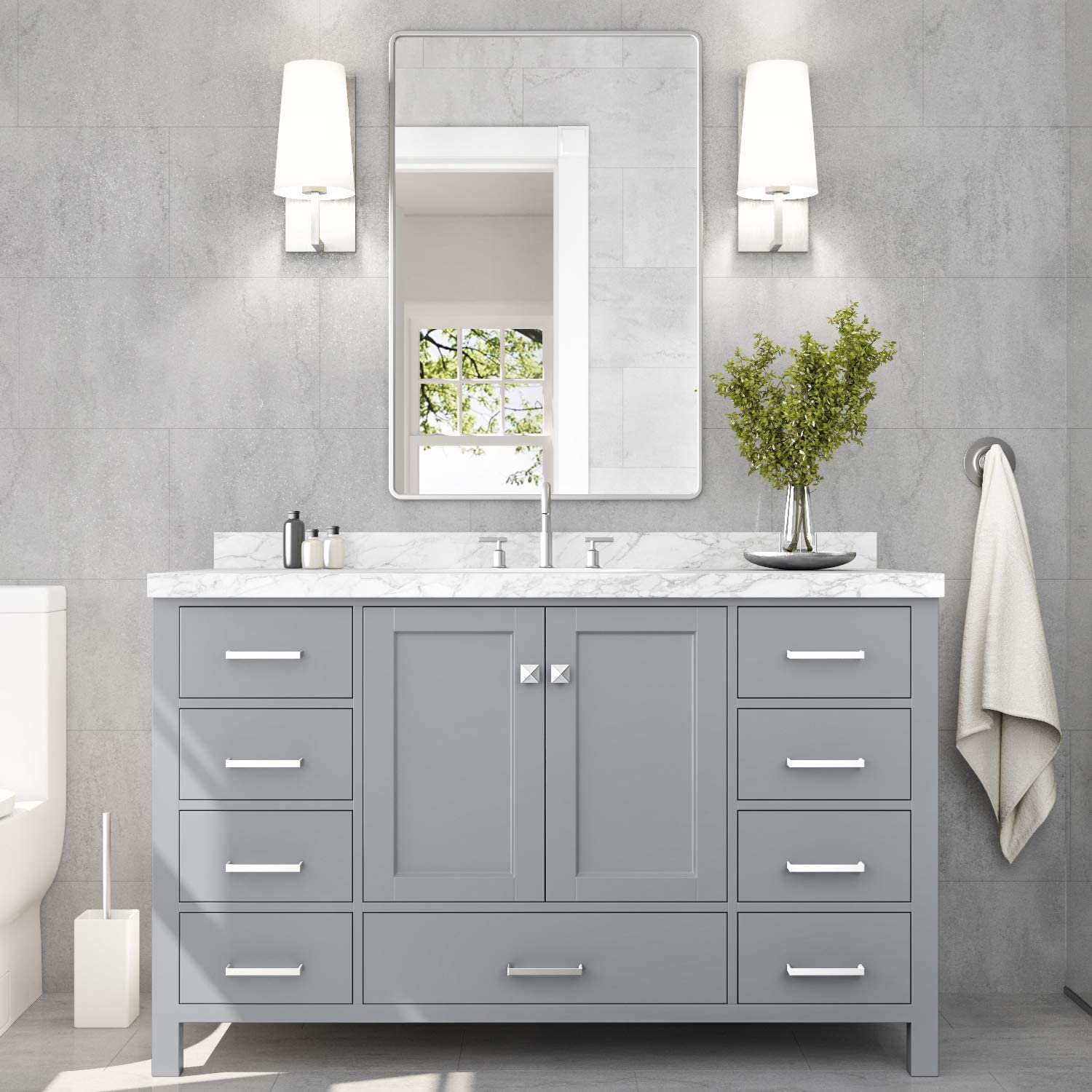 No Mirror 9 Full Extension Dovetail Drawers 2 Soft Closing Doors ARIEL Bathroom Vanity 55 Inch With Pure White Quartz Countertop and Rectangle Sink in Espresso With Backsplash