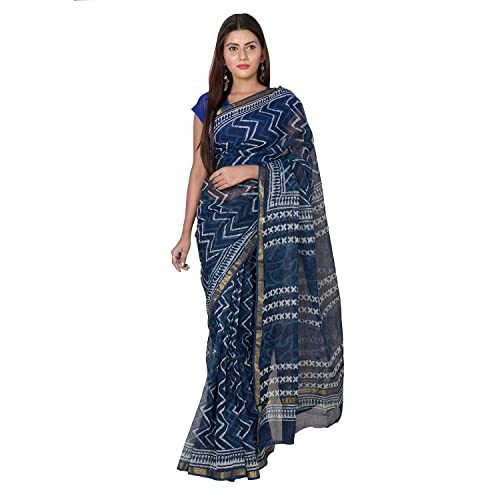 eb4959375b4794 Panvi Kota Doria Cotton Saree With Blouse Peice (Hand Block Printed Indigo  Blue P.