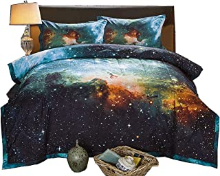 A Nice Night Black and Blue Galaxy Bedding Sets 3D Printed Cloud Quilt Comforter Sets with 2 Bedroom Pillow Covers