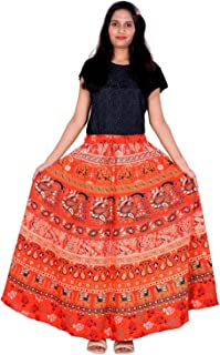 Rajvila 36 Inch Length Women's Cotton Printed Regular Long Elasti Skirt for Women (E_E36NT_0002)