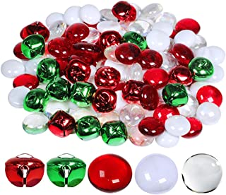 Winlyn Christmas Glass Gems and Jingle Bells Mix Metal Craft Bells Flat Glass Marbles for Holiday Winter Wedding Seasonal Decorations Crafts Aquarium Vase Filler Table Scatter 110 pcs 0.8