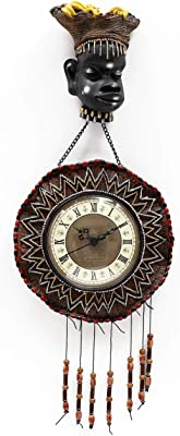 @home by Nilkamal African Dance Wall Clock, Brown