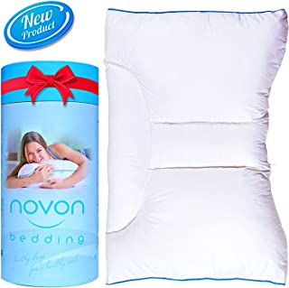 Cervical Pillow for Sleeping   Ergonomic Orthopedic Traction Pillow for Neck and Back Pain Relief   Neck & Shoulder Support Side Back Sleepers   Adjustable Contour Design-No Memory Foam - Cotton Cover