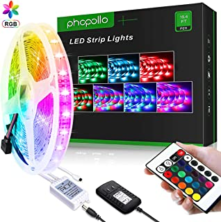 PHOPOLLO LED Strip Lights, Waterproof 16.4ft 5m RGB 3528 300Leds Tape Lights, Flexible Color Changing Lights Strip with 24-Key IR Remote Ideal for Home Kitchen Party and Outdoor, 12V Power Supply