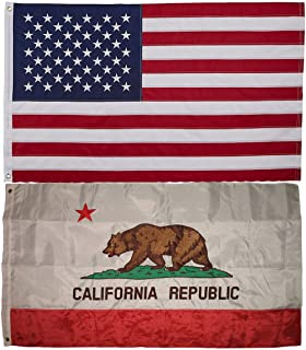 ALBATROS California and USA Flag 3 ft x 5 ft Embroidered 2 Double Sided Flag Lot for Home and Parades, Official Party, All Weather Indoors Outdoors