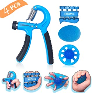 PROMIC Hand Grip Strengthener Workout Kit with Non-Slip Hand Gripper, Finger Exerciser, Hand Extention Ball and Stress Relief Grip Ball - Wrist Forearm Trainer, Hand Grip Workout Equipment