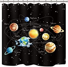 Riyidecor Solar System Shower Curtain Set Planets Stars Milky Way Galaxy Space Astronomical Black Kids Waterproof Fabric Bathroom Home Decor Panel 12-Pack Plastic Shower Hooks 72x72 Inch