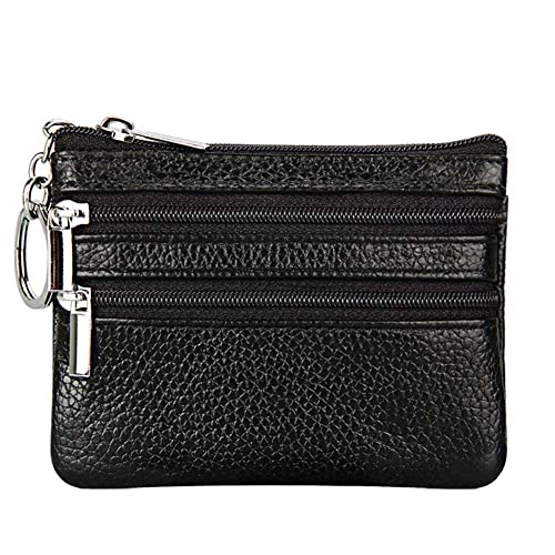Women s Genuine Leather Coin Purse Mini Pouch Change Wallet with Key Ring 8a9ca1fc06