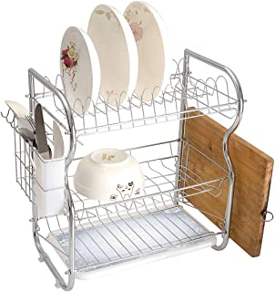 Stainless Steel 3-Tier Dish Drainer Rack Silver Kitchen Drying Drip Tray Cutlery Holder Christmas Theme Gentle Frame with Curls Swirls Snowflakes Lace Inspired Motif Decorative,Pale Blue Silver,Storag
