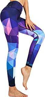 COOLOMG Damen Sport Leggings Yoga Hose Laufhose Fitnesshose Jogginghose mit Tasche Gemustert S-XL MEHRWEG