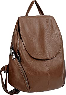 UTO Women Backpack Purse PU Washed Leather Large Capacity Ladies Rucksack Shoulder Bag Brown
