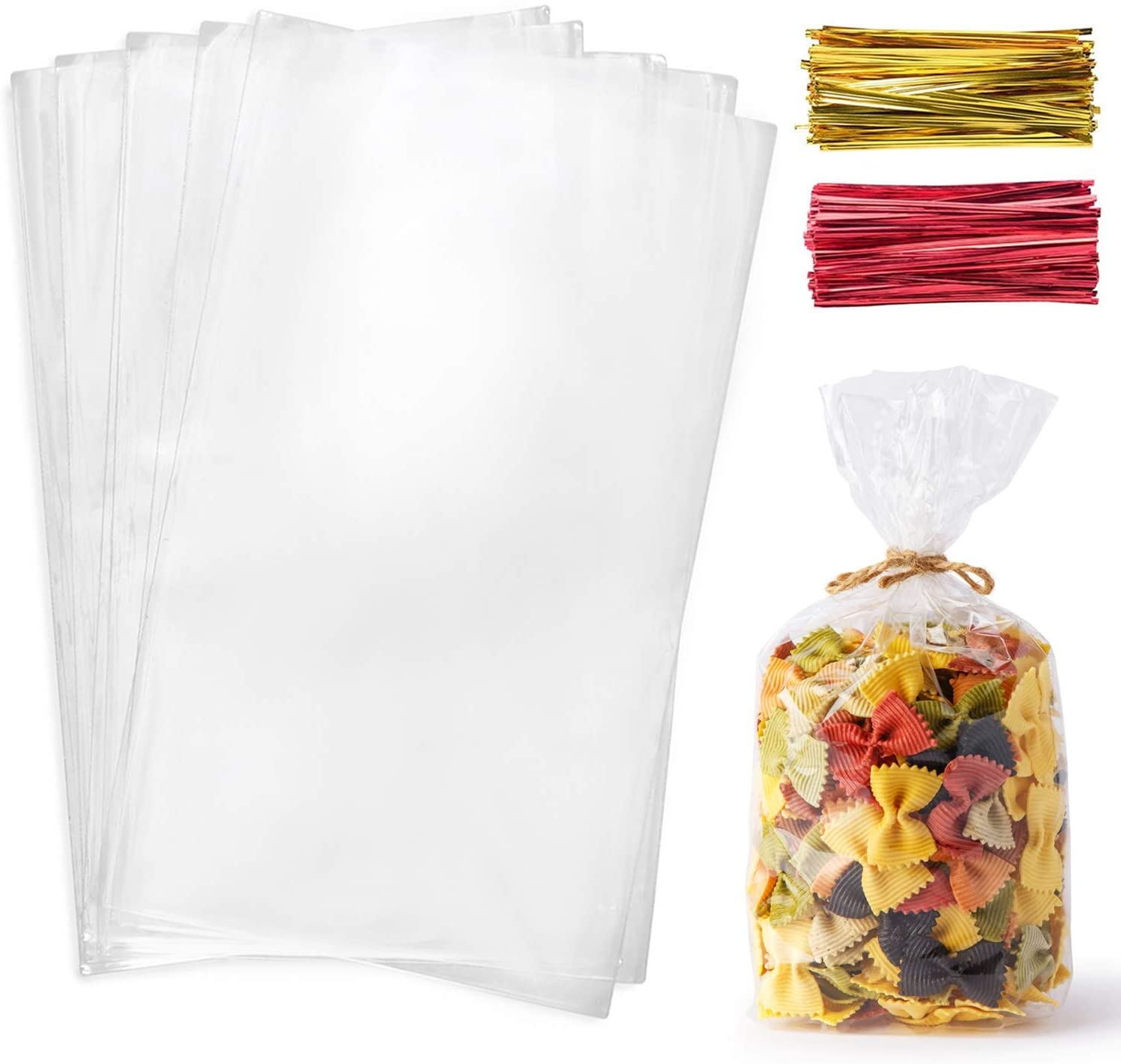 Cello Cellophane Treat Bags,200 PCS 7x13 Inches Clear Pastic Gift Bags with Twist Ties,Party Favor Bags : Health & Household