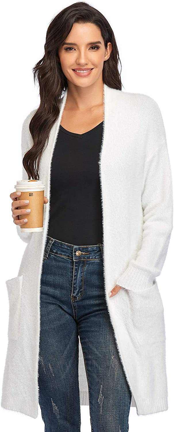Women's Casual Long Sleeve Cardigans Open Front Soft Plush Knit Sweaters Cardigan Outerwear with Pockets Coat