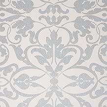 Swirls, White/Silver Damask Modern Wallpaper for Walls - Double Roll - by Romosa Wallcoverings LL7562