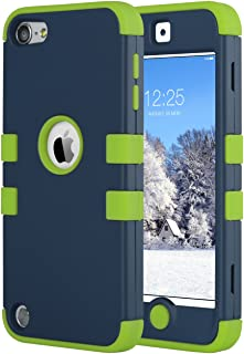 ULAK iPod Touch 7 Case, Case for iPod Touch 6 & 5th Generation, Anti Slip Anti-Scratch Shockproof Protective Cover with Hybrid High Soft Silicone + Hard PC for iPod Touch 5/6th/7th Gen (2019), Green