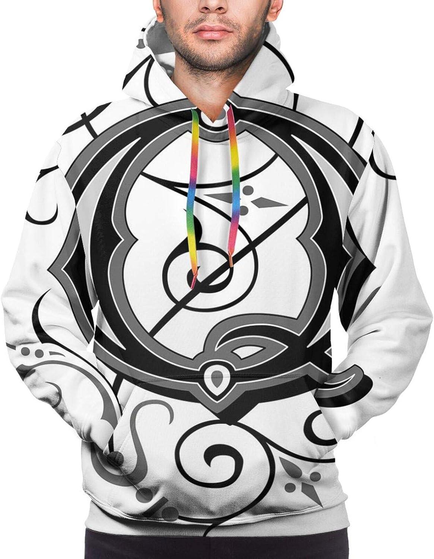 Men's Hoodies Sweatshirts,Flowers Flourishing Gothic Q Words Writing Artistic Style Aged Typography
