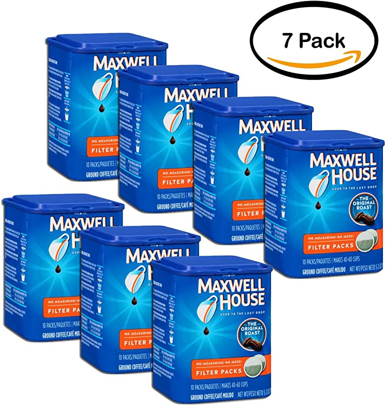 PACK OF 7 Maxwell House Original Roast Ground Coffee Filter Packs 10 Ct Canister