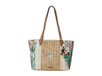 Sakroots Artist Circle Medium Satchel (Natural Mojave Mirage) Satchel Handbags