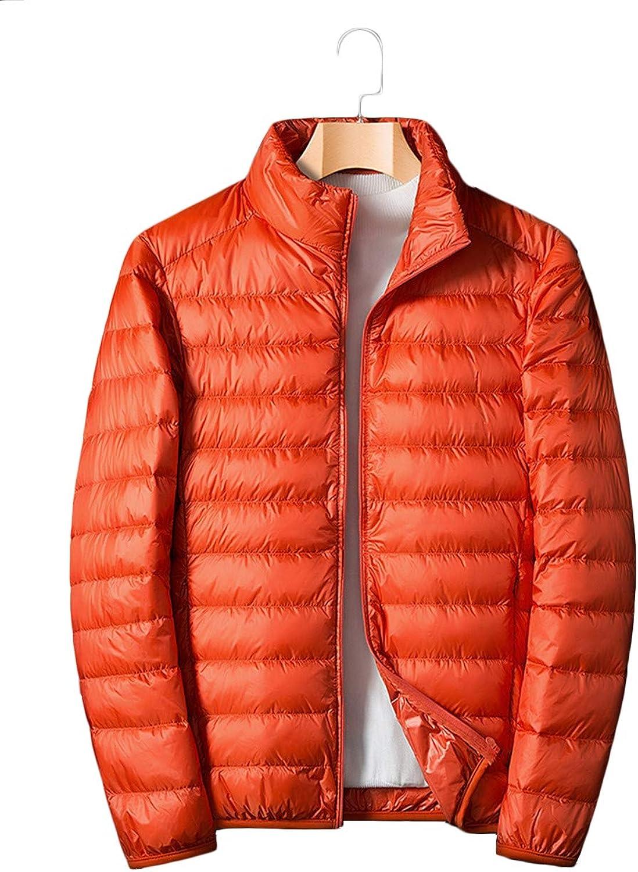 JL Herren Daunenjacke übergangsjacke Leichte Winterjacke Ultraleichte Outdoor Steppjacke Packbar Down Jacket mit Stehkragen leicht zusammenklappbar,Orange,XL