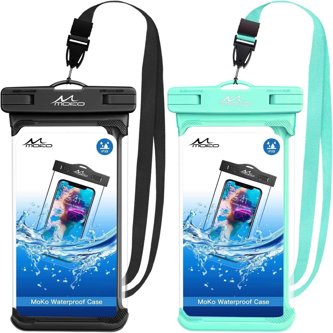MoKo Waterproof Phone Pouch Holder [2 Pack], Underwater Phone Case Dry Bag with Lanyard Compatible with iPhone 13/13 Pro Max/iPhone 12/12 Pro Max/11 Pro Max, X/Xr/Xs Max, Samsung S20/S21/S10/S9