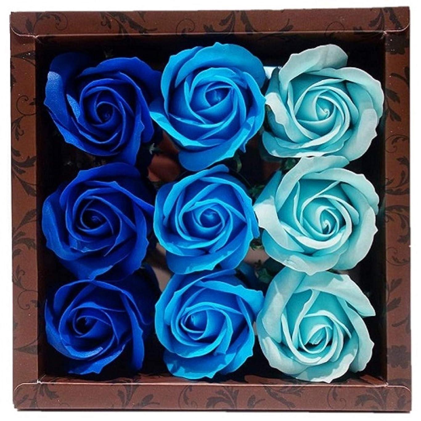 パンフレット地理研磨剤バスフレグランス バスフラワー ローズフレグランス ブルーカラー ギフト お花の形の入浴剤 ばら