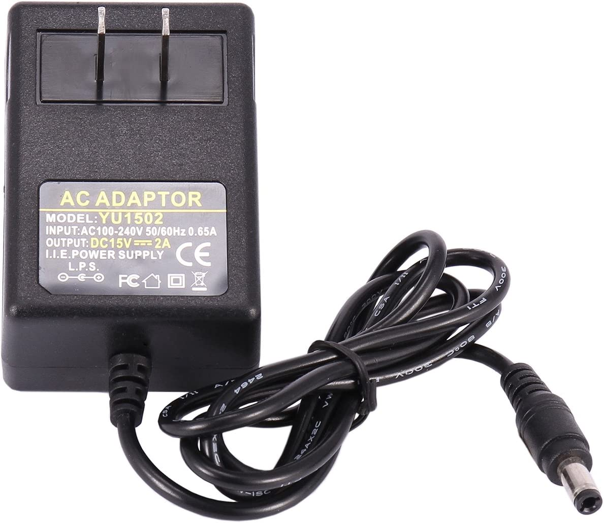 15V Power Adapter, COOLM AC DC 15V 2A Power Supply Converter Adapter Interface Size 5.5mm x 2.5mm AC 100-240V to DC 15V2A 30W Charger