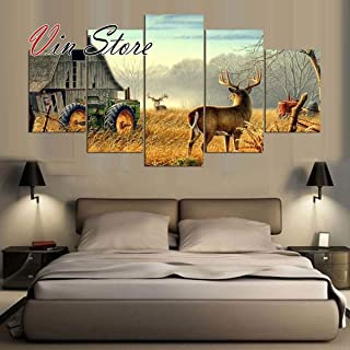 Deer Poster - Artworks Prints Decor Wall Modern 5 Pieces Canvas Animal Posters Modular for Living Room Home (No Frame) (30x40 30x60 30x80cm)