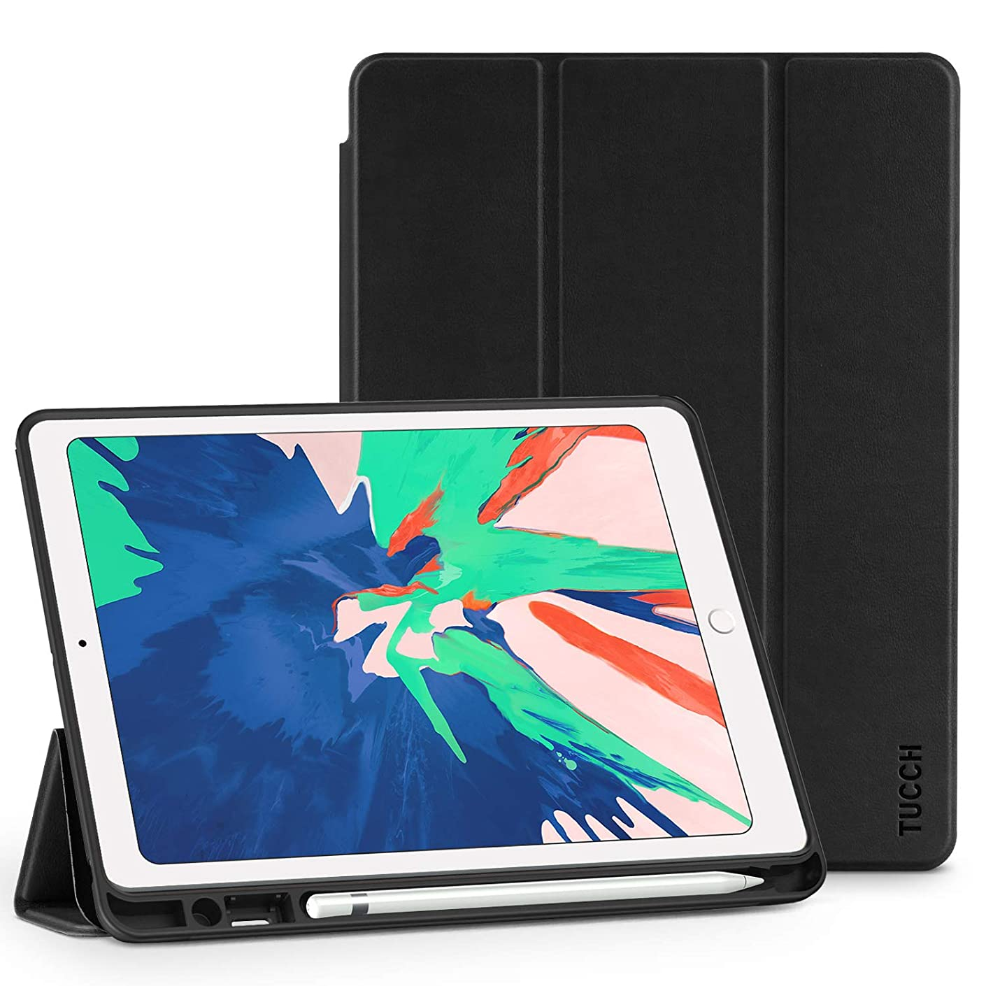 TUCCH iPad Air 3 Smart Case (10.5-inch 2019), [Auto Sleep/Wake] Trifold [Stand] PU Leather Cover with Pencil Holder, Soft TPU Back Cover Compatible with iPad Air (3rd Gen) 10.5 inch, Black