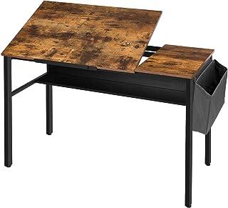HOOBRO Bureau, Table à Dessin, Table Informatique, Table d'étude avec Dessus Inclinable, avec Pochette de Rangement Amovib...