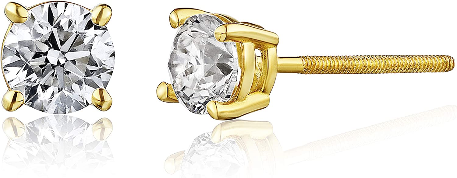 The Diamond Channel AGS Certified Diamond Earrings For Women in 14K Gold with Screw Back and Post Studs (I1-I2 Clarity), Choice of Carat Weights (yellow-gold.60)