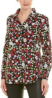Slim Signature Pink Floral Black Silk Button Up Shirt Blouse