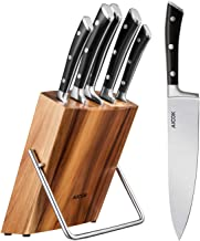 Kitchen Knife Set, Professional 6-Piece Knife Set with Wooden Block Germany High Carbon Stainless Steel Cutlery Knife Bloc...