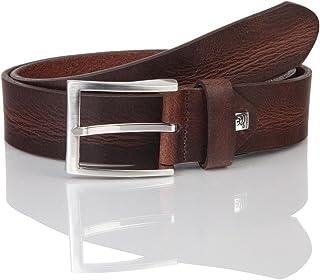 LINDENMANN Mens leather belt/Mens belt, full grain leather belt, dark brown