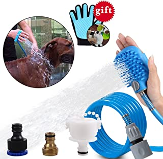 OWUDE Pet Shower Sprayer 2 in 1 Pet Bathing Tool with ON/Off Switch for Dog and Cat Grooming with Massage Brush 3 Hose Ada...
