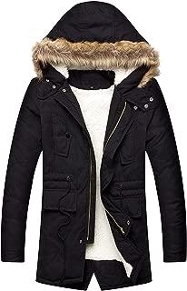 Men's Hooded Faux Fur Lined Warm Coats Outwear Winter Jackets