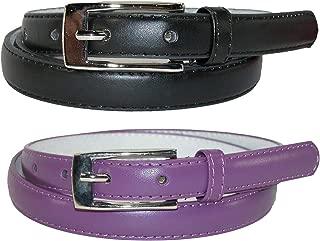 CTM Women's Skinny Leather Dress Belt (Pack of 2 Colors)