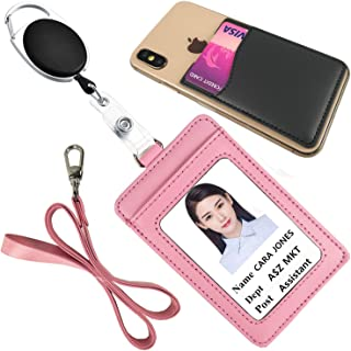 Lucstar Work ID Badge Holder with Retractable Reel Clip Lanyard, Genuine Leather Credit Card Holder Wallet for Cellphone Back Vertical for Women Men Students Nurse Office ID Tag Gift(A Pink)