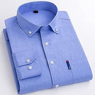 XJJZS Printemps Chemises Hommes Mode Vêtements Tendances Casual Bouton Rayé Social Camisas Angleterre Style Streetwear Sli...