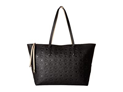 MCM Klara Monogrammed Leather Charm Top Zip Shopper Medium (Black) Tote Handbags
