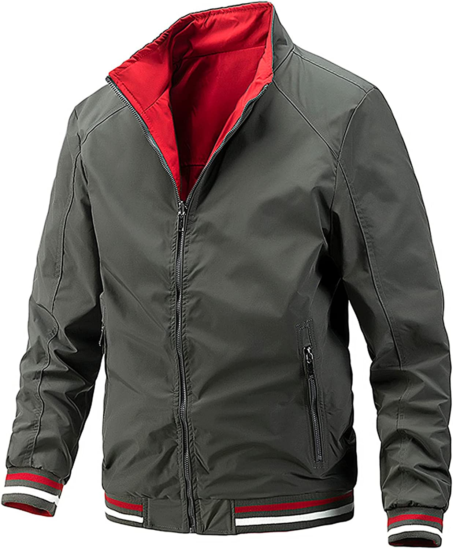Men's 2 in 1 Lightweight Casual Bomber Jacket Outdoors Sports Work Wear Bomber Jacket Shirt Coats