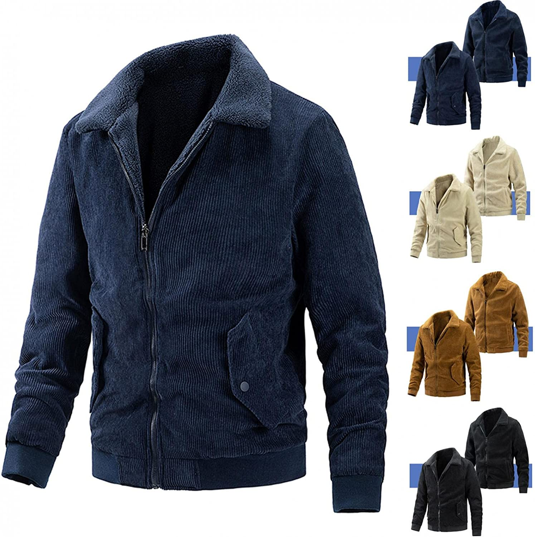 JSPOYOU Men's Corduroy Trucker Jacket Casual Stand Collar Zip Up Denim Coat Sherpa Lined Wear On Both Sides Windproof Coats
