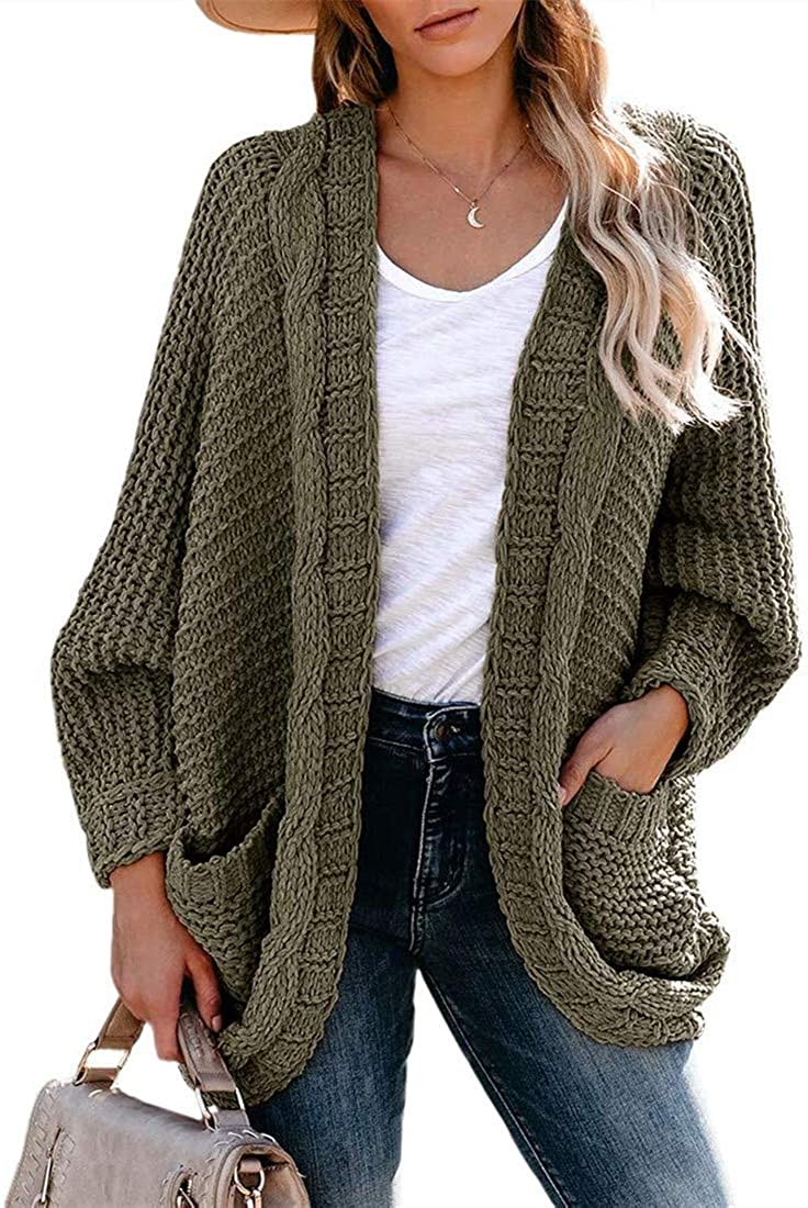 Womens Oversized Cardigan Sweaters Lightweight Cable Knit Open Front Casual Long Sleeve Tops Outerwear Coat Green