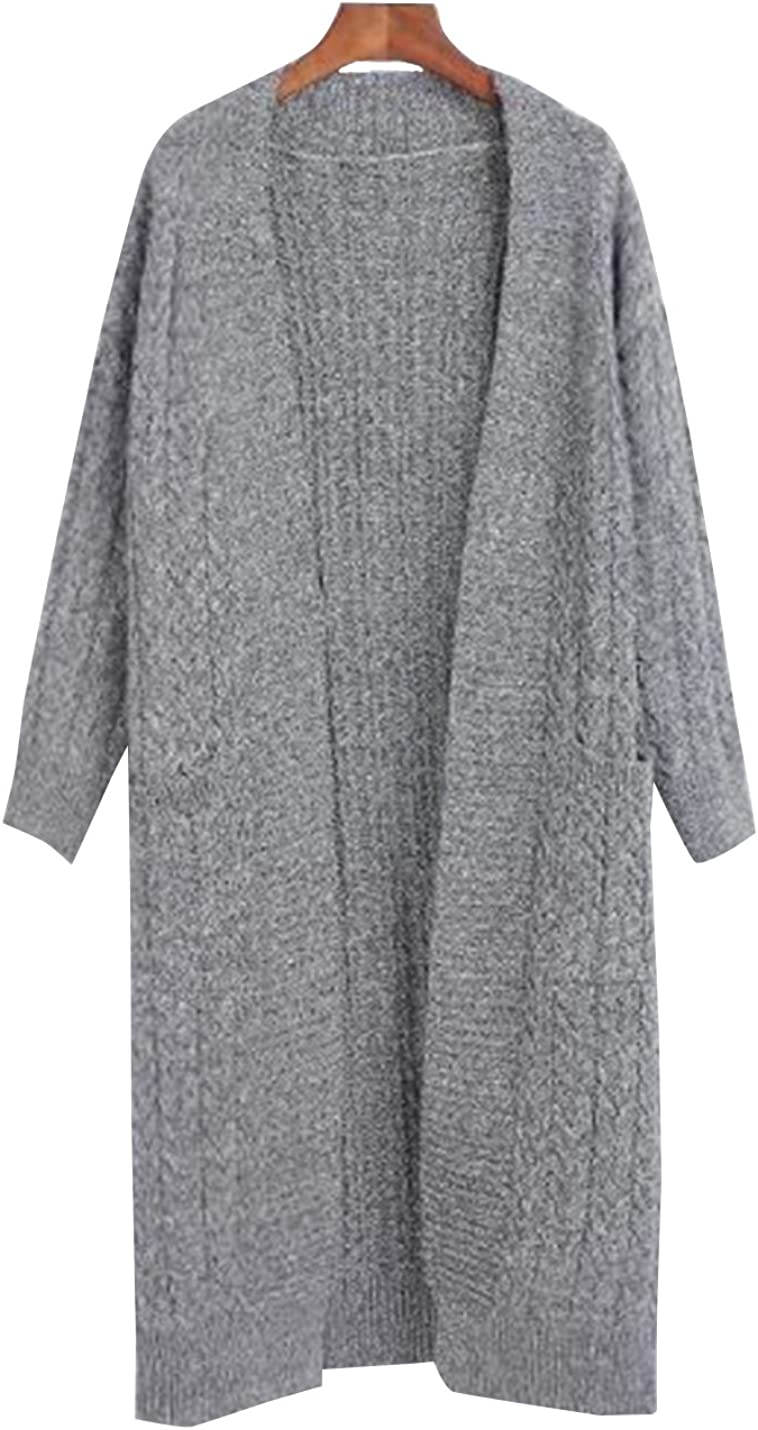Uaneo Women's Classic Heather Long Sleeve Knit Sweater Open Front Warm Cardigan Outerwear (One Size, Light Grey)