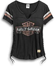 Harley-Davidson Women's Genuine Side Laced Tee, Black