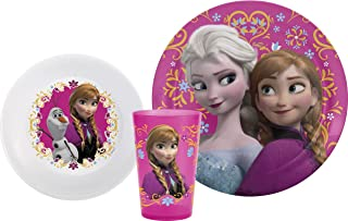 Zak Designs FZNA-0391 Disney Frozen Kids Plate-Bowl-Tumbler Dinnerware Sets, 3 Piece Girl