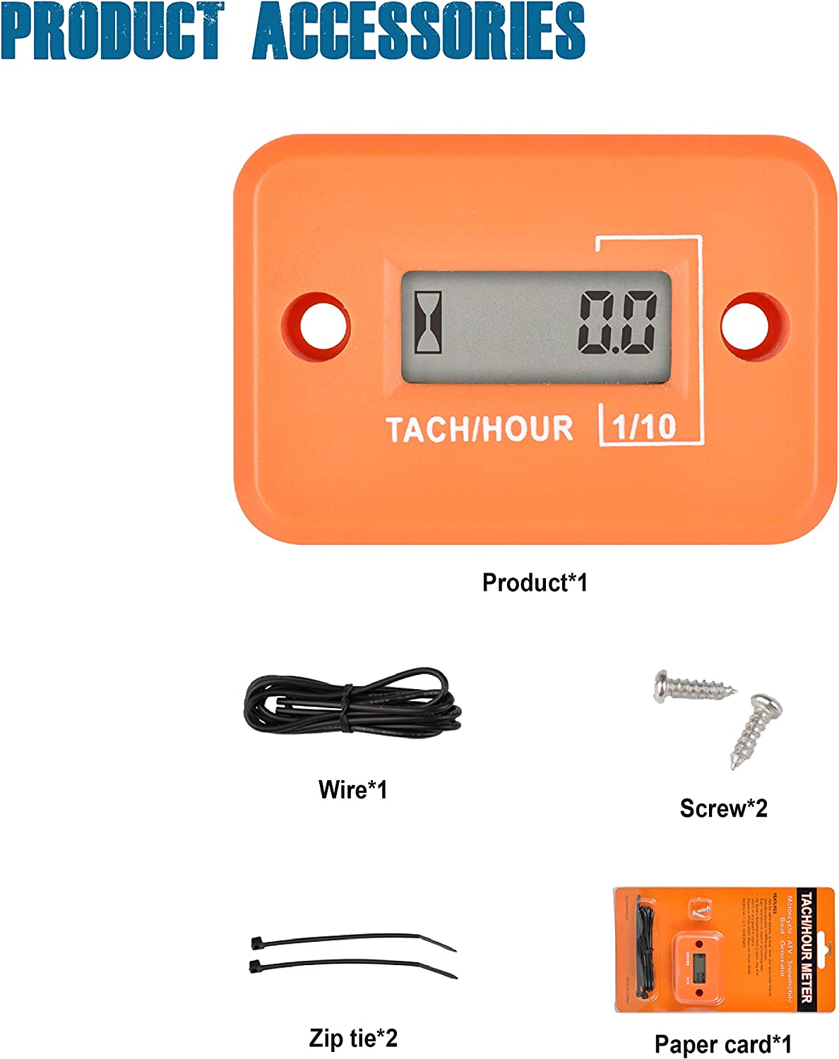 Runleader Digital Mini Tach Hour Meter,TOT Hours Accumulate,Real-time RPM Display,Battery Operation for ZTR Lawn Mower Tractor Generator Outboard ATV Chainsaw Marine Snowblower. Red