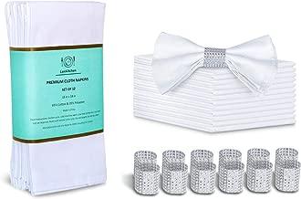 LuxKitchen White Cloth Napkins Set of 12 Cotton(18