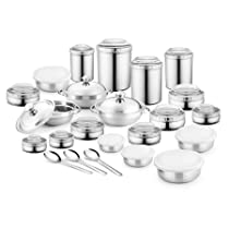 Jensons 16 PCS Stainless Steel Canister Set with White Color PC Lids -16 Pcs Set
