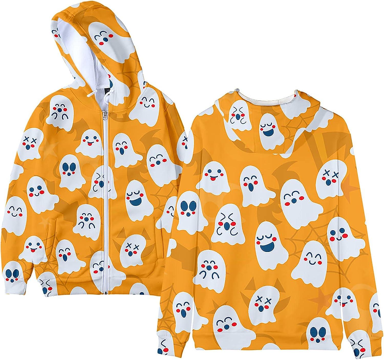 CANDITY Ghost Print Hoodies for Women Cute Long Sleeve Pullover Sweatshirt Zipper up Lightweight Hoodie Fashion Loose Coats